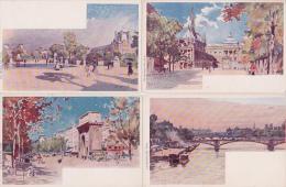 9 Cartes Monuments Et Lieux De Paris Illustrateur Vignal - Précurseur - - Non Classés