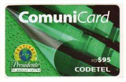 REPUBLIQUE DOMINICAINE CARAIBES PREPAYEE 95$ COMMUNICARD CODETEL Festival De Musique