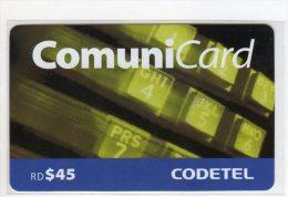 REPUBLIQUE DOMINICAINE CARAIBES PREPAYEE 45$ COMMUNICARD CODETEL