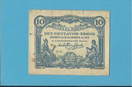 CÉDULA De 10 CENTAVOS - SÉRIE GG - CASA DA MOEDA - PORTUGAL - EMERGENCY PAPER MONEY - NOTGELD - Portugal