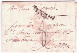 """1822- Lettre De Rio De Janeiro ( Brésil ) Pour Le Havre """" Par Lema De Nantes"""" + COLONIES PAR / NANTES - Marcophilie (Lettres)"""
