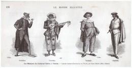 GRAVURE D Epoque   1877  Italie  Venise Italia Venizia  Les Masques Du Carnaval - Venezia (Venedig)