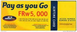 Y] Rwanda MTN Rwandacell Airtime Card POCHETTE POCKETcontenant Code Containing Pin (utilisée - Used) - Rwanda
