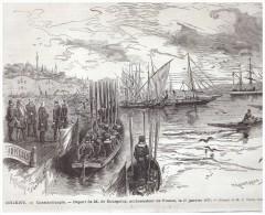 GRAVURE D Epoque   1877  TURQUIE ISTAMBUL  Constantinople   Depart De  Bourgoing  Ambassadadeur De France - Non Classés