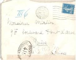 2644 Lettre Dest GENEVE Suisse Censure 415 25 C Semeuse Yv 140 Ob 20 3 1917 Flier A16305 Avec Correspondance Suivie - Poststempel (Briefe)