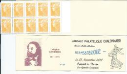Carnet Privé A.P.C. Chalon Sur Saône 2012 - Carnet à Théme Grands Ecrivains -Théophile GAUTIER - Carnets