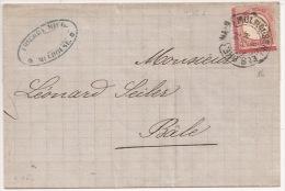 R155 - FRONTALIER Fer à Cheval MULHAUSEN I ELS BHF - 1874 - Pour BALE En Suisse - Sur 1 Groschen - - Poststempel (Briefe)