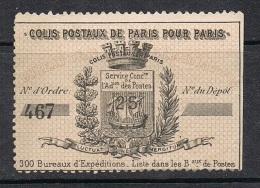 FRANCE COLIS POSTAUX DE PARIS POUR PARIS N°6X2 ET N°7 - Colis Postaux