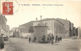 Herault : Montbazin, Place De L'Eglise Et Pompe Neuve, Belle Carte Animée - Altri Comuni