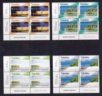 Tokelau 2004 Scenes Set Of 4 Corner Imprint Blocks MNH - Tokelau