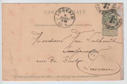 01502a Bruxelles 1895 EP 5c Perforé G.D.B. Déf Côté Droit V. Louvain C. Arrivée - Perfins