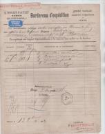 01512a Namur 1882 C. Hexag. Namur Central + Gff  Bordereau Expéd. Firme E. Tonglet + Vignette Fabrique D´huiles - Railway