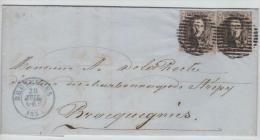 01525a Bruxelles 1856 P24 14 Barres TP6 V. Strépy-Bracquegnies C. La Louvière - Postmark Collection
