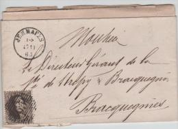 01527a Jemmapes (Jemappes) 1863 P65 TP14 V. Bracquegnies C. Arrivée Distrbution - Postmark Collection