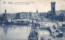 Cpa Ostende, La Gare Et Le Pont Vers La Rue De La Chapelle, Vue Aérienne - Oostende