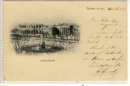 NIMES, Le 14. Aout. 1898, 10c, Beziers, Herault - L'Esplanade, Litho - Nîmes