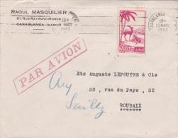 MAROC TARIF à 4f50 : N°195 Seul Sur Lettre Avion Pour La France - Obl Casablanca - Morocco (1891-1956)