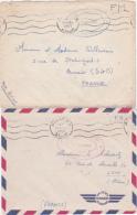 """1956 2 Lettres FM Maroc """"BASE AERIENNE 151 RABAT -SALE"""" En ROUGE Et En BLEU -  ObL Méca Bilingue RABAT / Aviation - Briefe U. Dokumente"""