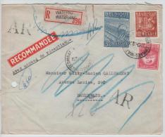01761a Watermael 1948 Recom. AR TP Exportation Trou D´archive V. E/V C. Ixelles + étiq. + Non Réclamé - 1948 Export