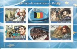 GUINEA BISSAU TREATY ITALY BELGIUM RUBENS BRUEGHEL BORDET MICROSCOPE + TINTIN (WITHDRAWN STAMP) C8 GB8105A - Timbres