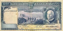 ANGOLA PORTUGUESE 1000 ESCUDOS BLUE MAN DAM FRONT ANIMAL BACK SIGN5 DATED 10-06-1970 P.98 READ DESCRIPTION CAREFULLY !! - Angola