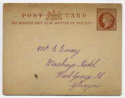 GB--Entier-Carte Postale Victoria-Half Penny-Pas De Cachet--Glasgow - 1840-1901 (Regina Victoria)