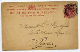 """GB--Entier-1903-Carte Postale Victoria-One Penny-cachet""""LIVERPOOL"""" Pour PARIS(France)--25 AP 03--Texte Au Verso - 1840-1901 (Regina Victoria)"""