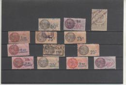 LOT DE 13 FISCAUX OBLITERES - Revenue Stamps