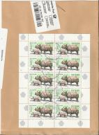 ALEMANIA FRAGMENTO CON HOJA BLOQUE RINOCERONTE FAUNA MAMIFERO - Rinocerontes