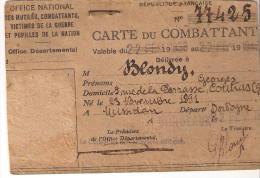 CARTE DU COMBATANT..format : 100x70 Mm...voir Scan ..photo Enlevée... - Documents Historiques