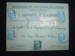 LR TP MARIANNE DE GANDON 4F50 X4 + 2F OBL. 27-9-47 COULAURES (24 DORDOGNE) + GRIFFE + LAUSSINOTTE - 1945-54 Marianne De Gandon