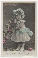 CPA Fantaisie - Enfant - Fillette - Fleurs - Enfants