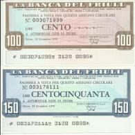 D 012 - 2 VALORI SERIE - BANCA DEL FRIULI - [10] Assegni E Miniassegni