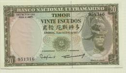 TIMOR - PORTUGAL - 20 Escudos Banknote - UNCIRCULATED - Timor