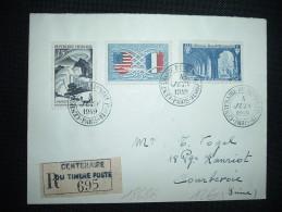 LR TARIF 65F OBL. 4 JUIN 1949 CENTENAIRE DU TIMBRE POSTE PARIS (75) + GRIFFE - Storia Postale