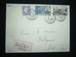 LETTRE TP VIVARAIS 50F + BEAUNE 4F + MARIANNE DE DULAC 1F OBL. 27-1-1950 PARIS 68 (75) + GRIFFE - Covers & Documents