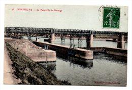 CPA - COMPIEGNE - LA PASSERELLE DU BARRAGE - Colorisée - 1908 ! - N°48 - - Compiegne