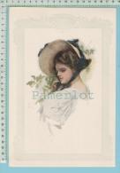 """Chromo -lithographie 1908  Signée   """" Harrisson Fisher"""" 27 Cm X  18.3 Cm Imprimé En 1911 2 Scan - Lithographies"""