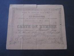 BAGNOLET 27 Mai 1889 Provins Seine-et-Marne :Concours D´orphéons,Musique,Harmonie - Fanfare 50 % Accordée Par Chemin - Musique & Instruments