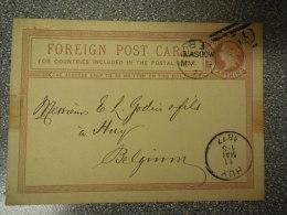 CARTE POSTALE / ANGLETERRE GLASGOW VERS HUY BELGIQUE * 1877 - Postcards