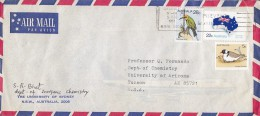 Australia Airmail Par Avion UNIVERSITY OF SYDNEY 1981 Cover To TUCSON Arizona USA Bird Vogel Oiseau Map Landkarte Flag - Poste Aérienne