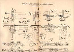 Original Patentschrift - H. Hartig In Kändler B. Limbach I.S. , 1889  , Zierstich - Nähmaschine , Näherei !!! - Maschinen