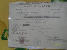 Monte Di Pietà Di Roma Mandato Per Il Ritiro Della Croce 1910 Documento Con Firme Originali - Azioni & Titoli