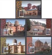 Greece 2012 Agion Oros Athos - Monasteries 2nd Issue Set Of 5 MC - Cartoline Maximum