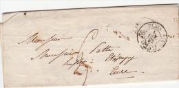 1852, Lettre De PARIS Pour ETREPAGNY EURE, POURET AVOUE, Rue St Anne, Taxe PARIS 25C /4594 - 1849-1876: Classic Period
