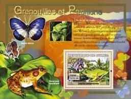 gu0727b Guinea 2007 Frogs Butterflies s/s