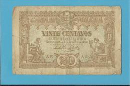 CÉDULA De 20 CENTAVOS - SÉRIE AE - Pick 100 - CASA DA MOEDA - PORTUGAL - EMERGENCY PAPER MONEY - NOTGELD - Portugal