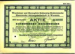 Aktie Warsteiner Herzoglich Eisenwerke AG In Warstein -  100 RM 1925 - Industrie