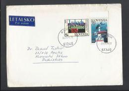 Slovenia 1994 Airmail To Pakistan, World Ski Jumping Championships,Planica City Of Ljubljana, 850th Anniversary - Jumping