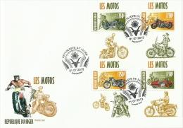 nig13413dF Niger 2013 Motorcycles Motorbike 4 s/s FDC Actor James Dean Marilyn Monroe Elvis Presley